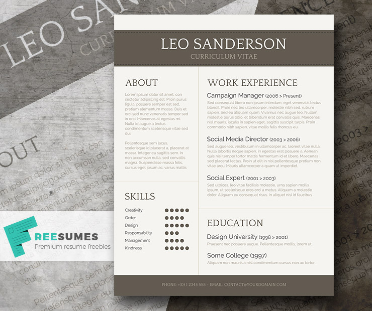 Conservative and Creative Free Word CV Template – CV Templates Free Word