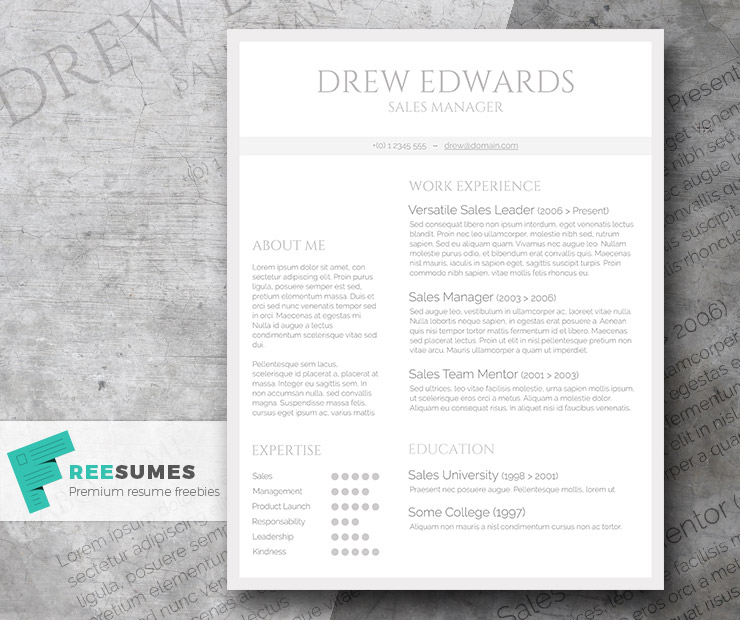 Free Straightforward Resume Design Basic Grey And White