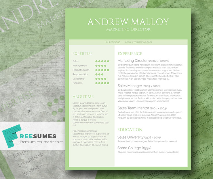 free creative cv template - simple green