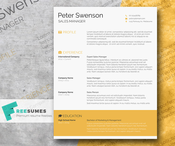 goldenrod yellow a free clean word resume template - 2014 Resume Template