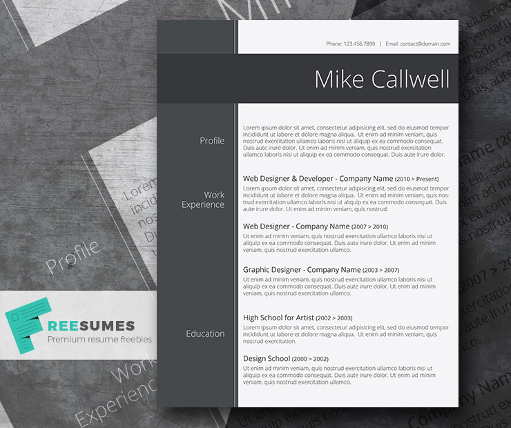 Modish And Elegant  Freebie Stylish Word Resume Template