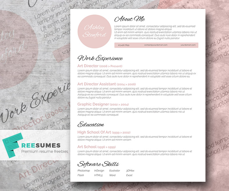 touch of pink a beautiful free resume template - Free Resume Templates
