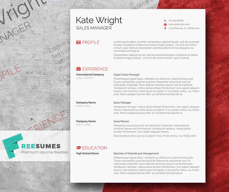 Smart Freebie Word Resume Template - The Minimalist