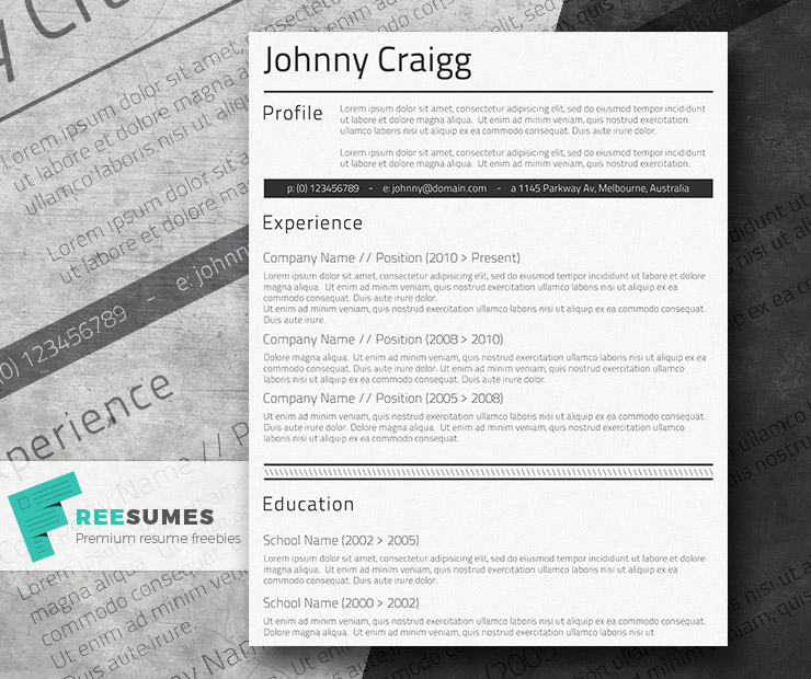 simple cv template for free shades of black - Free Professional Resume Format
