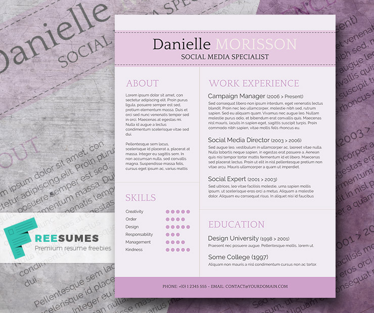 Purple Themed Resume Template Freebie - Light Lavender