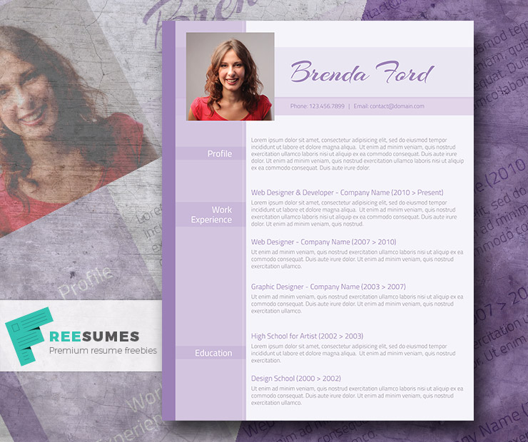 professional purple  u2013 a free purple themed cv template