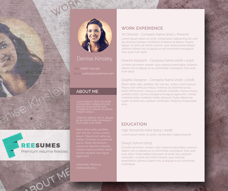 Modern And Chic A Photo Resume Template Giveaway Freesumes - Photography ad template