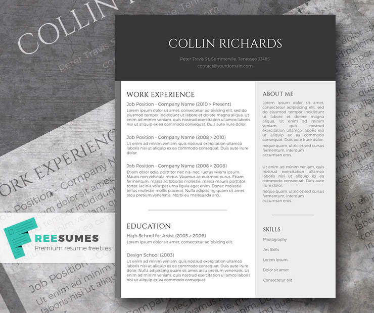 Plain but Trendy – The Free Modern Resume Template - Freesumes
