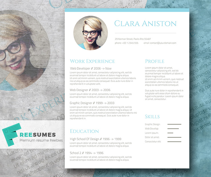 Simple Snapshot The Freebie Photo Resume Template