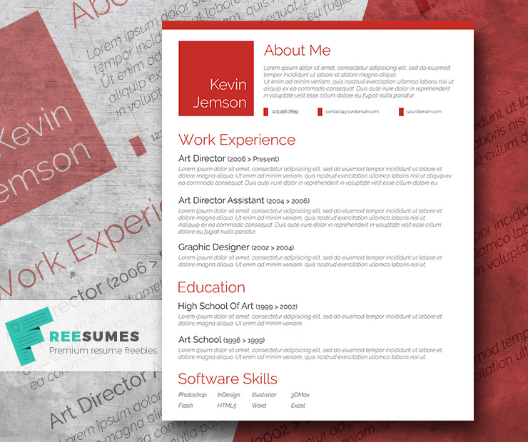 red resume design