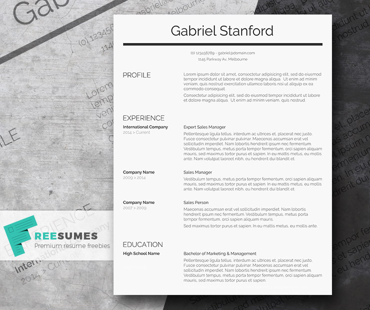 Professional Resume Template Freebie - Sleek and Simple - Freesumes
