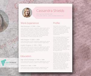 free pink resume
