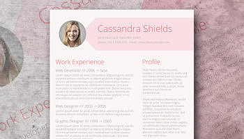 pink resume template freebie