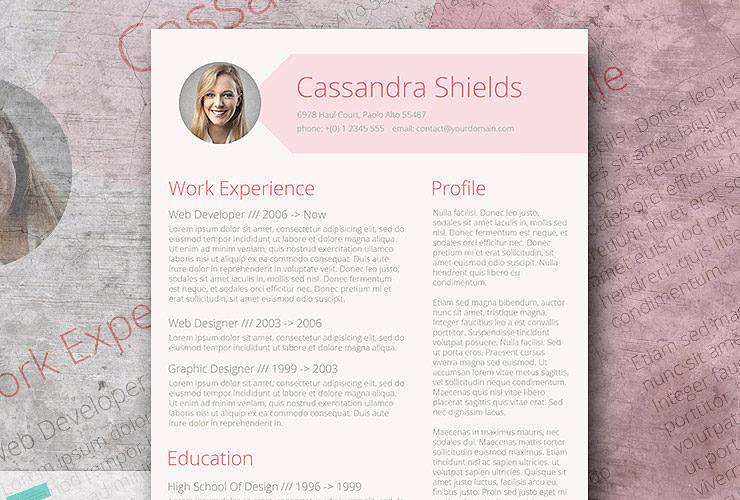 pink resume template freebie
