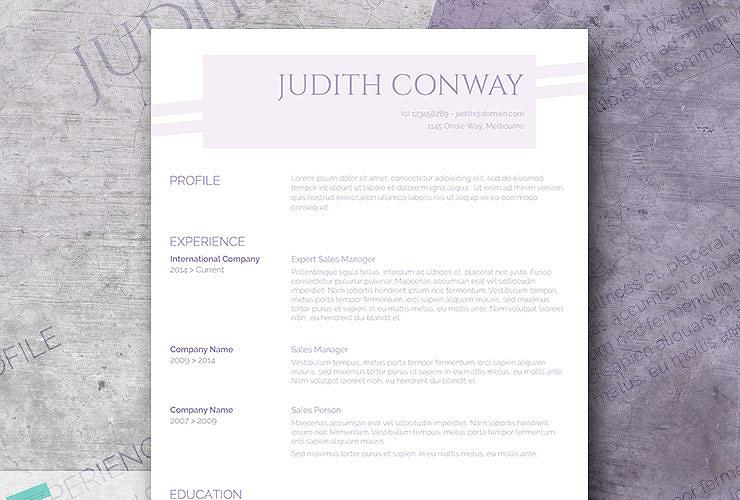 lilac resume design