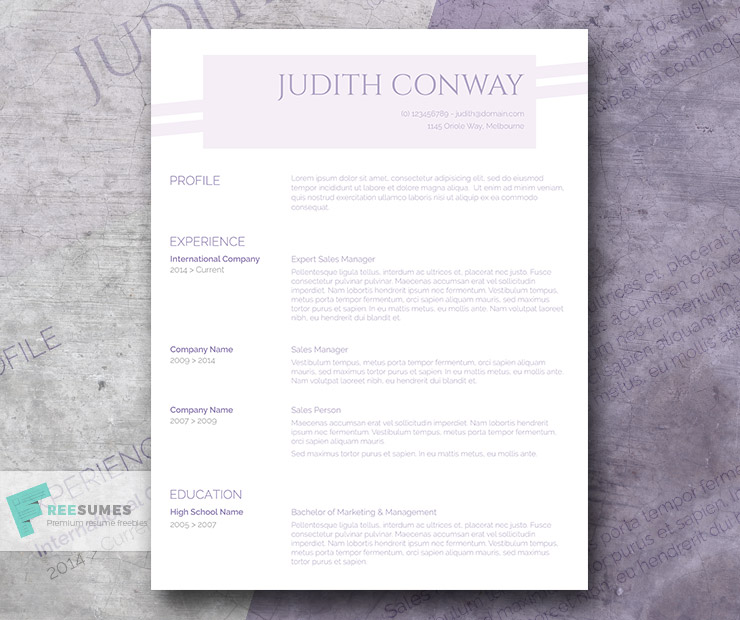 The Free Purple Resume Template A Touch of Lilac Freesumescom