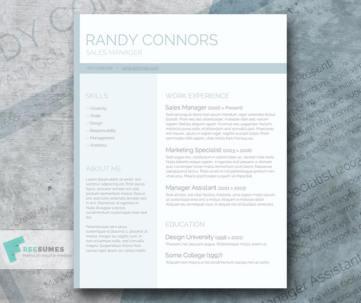 Washed Out – A Free Pastel Colored Resume Template