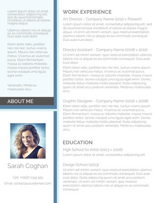 Creative CV Template Splash of Blue