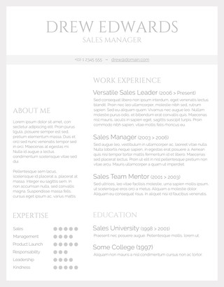 Basic Grey and White Resume