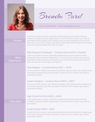 Professional Purple Resume  Latest Resume Format