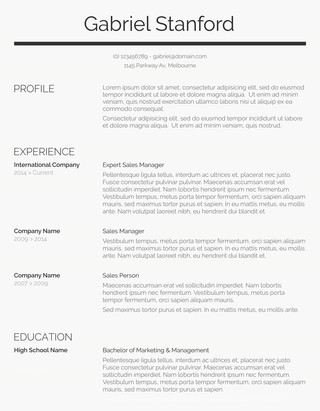 Classic Resume Template Sleek and Simple