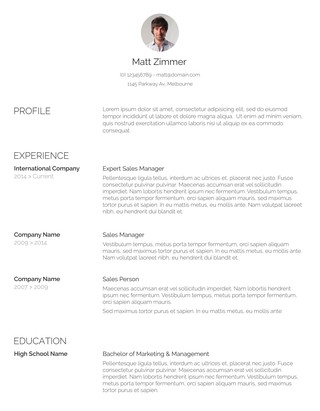 Spick U0026 Span Resume Template  Resume Template With Photo