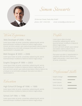 resume template subtle gold