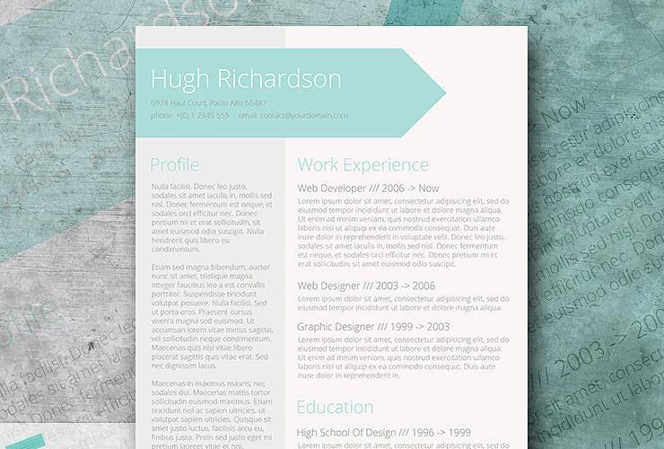 turquise creative resume template