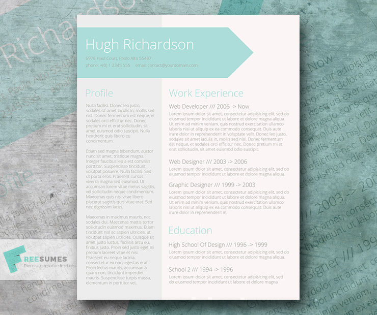 Free Turquoise Resume Cv Template  Greenish Blue  FreesumesCom