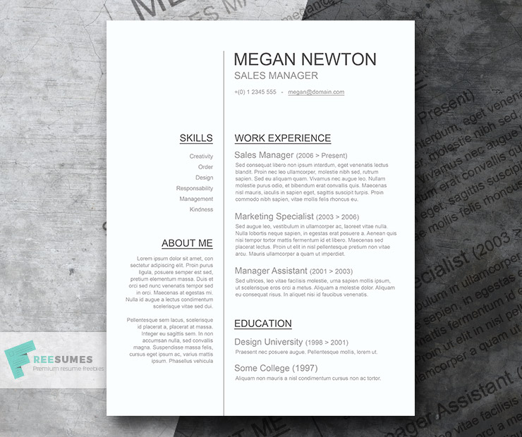 Professional Resume Template Freebie - Sleek And Simple
