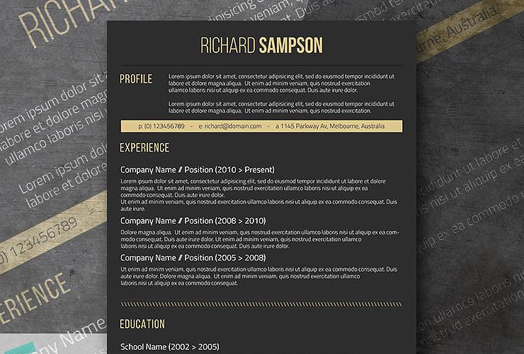 dark resume design