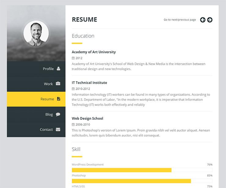 Wordpress Resume Theme rachel wordpress resume theme Premium Layers Wordpress Vcard Resume Theme