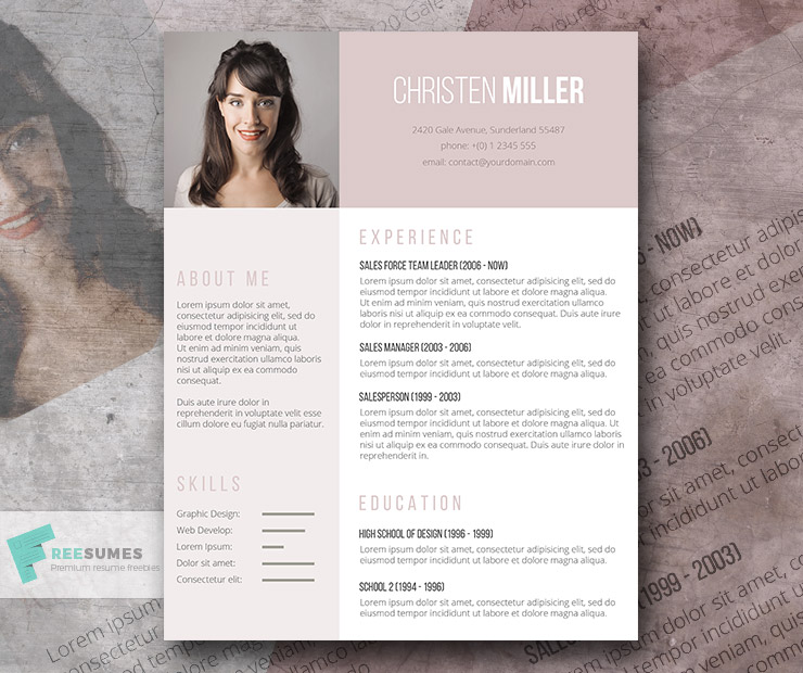 free resume template for the ladies - the vintage rose