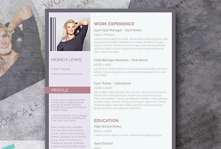 purple word cv template