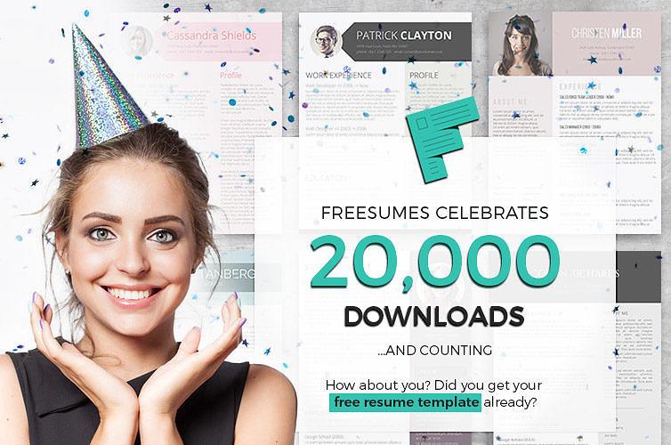 Freesumes 20k resume downloads