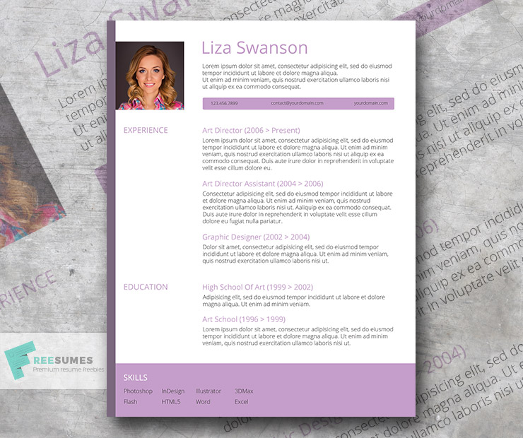 free female resume template - purple pop
