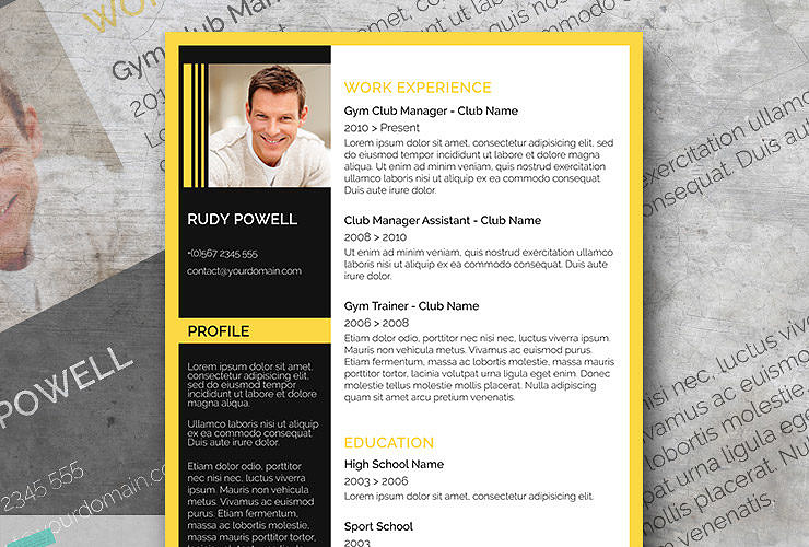 yellow black resume