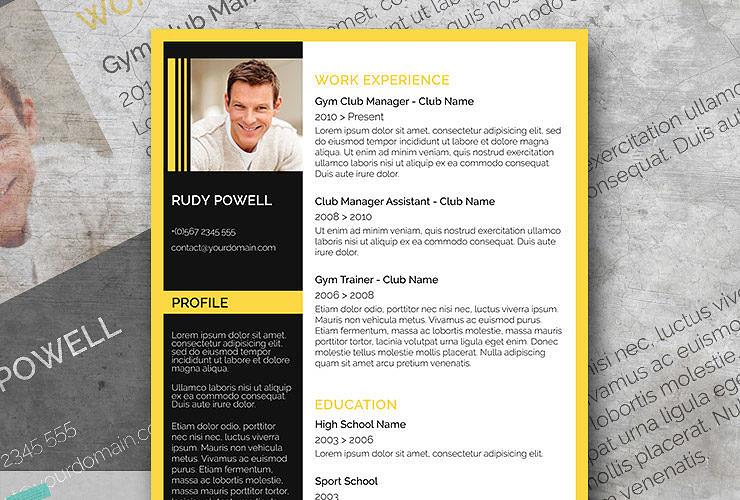 yellow black resume