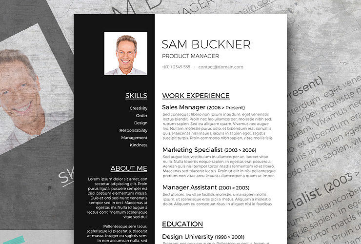 black and white resume