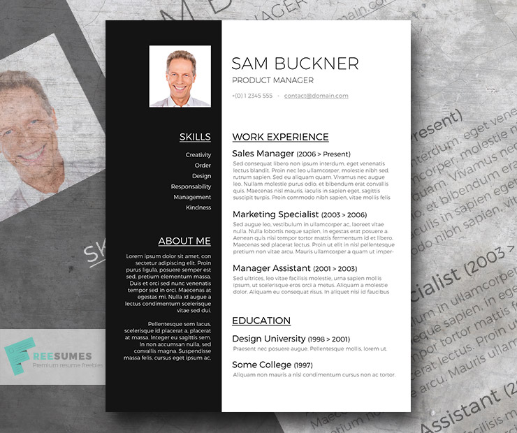 two tones  u2013 a black and white resume template design freebie
