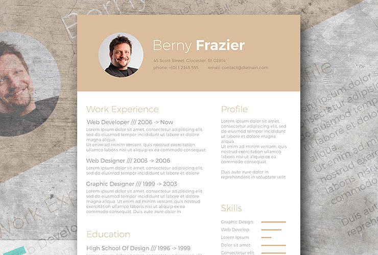 golden brown a trendy resume template design for free