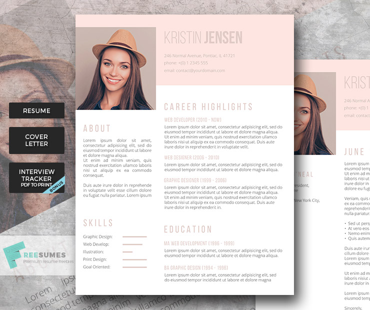 feminine premium resume set