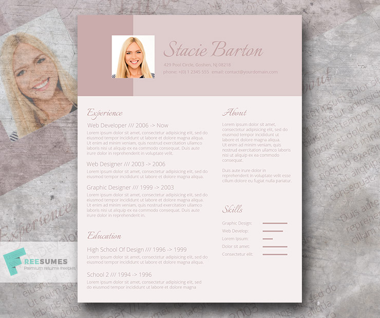 cv design for the female applicant