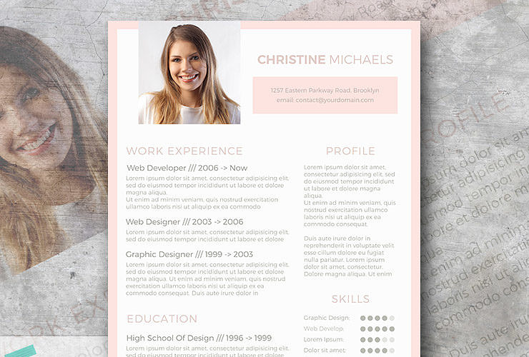 peach resume template