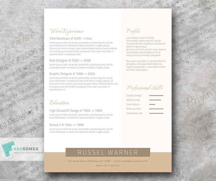 Professional Resume Template Freebie | Golden Elegant