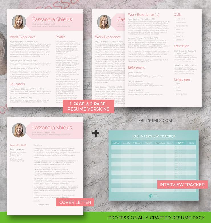 resume template pack blush and pixie