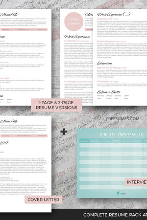 resume template pack touch of pink