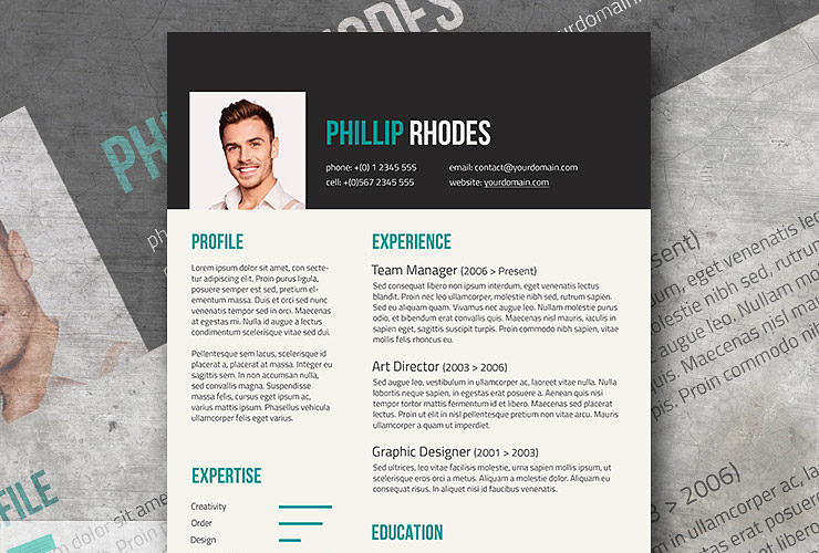 free modern resume template turquoise dark grey templates download word