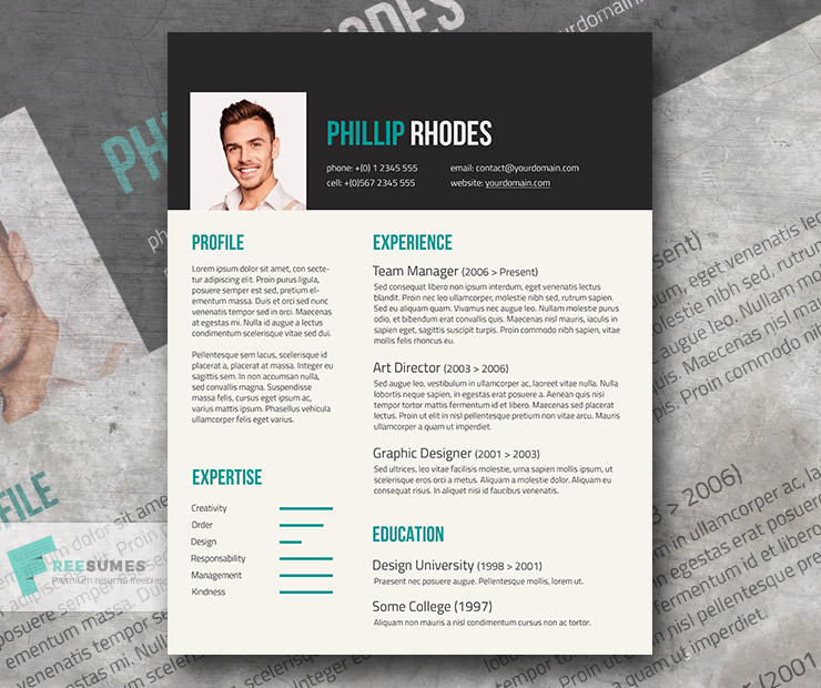 Free Modern Resume Template Turquoise On Dark Grey