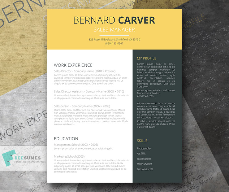 free yellow-dark grey cv template